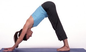 Woman in Downward Dog Pose on Mat